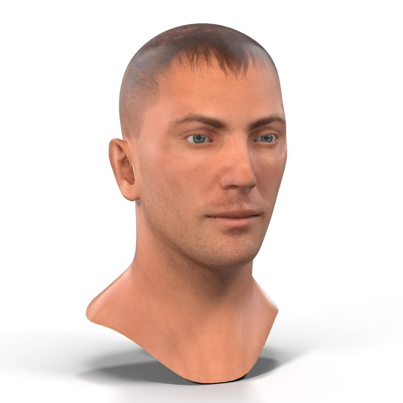 caucasian male head 3ds