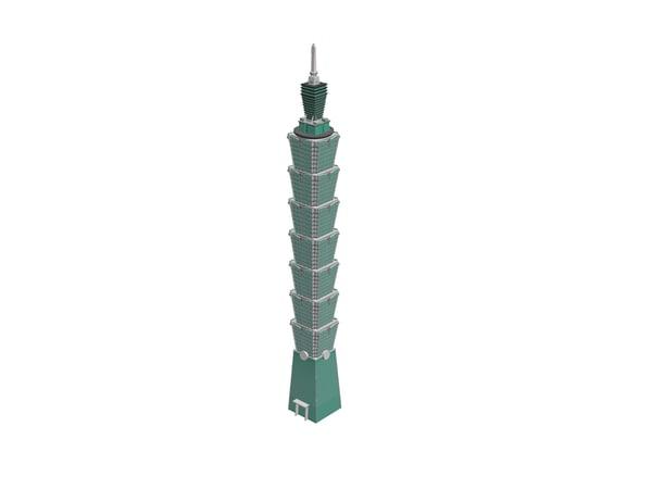 3d skyscrapers taipei 101 model