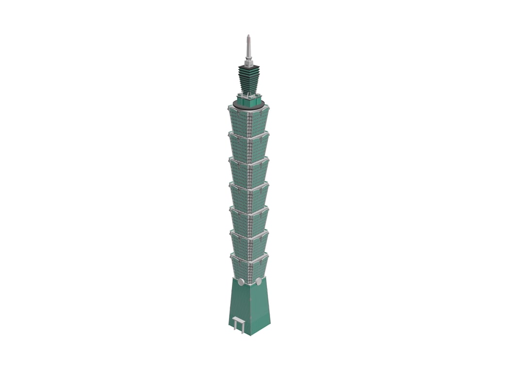3d skyscrapers taipei 101 model