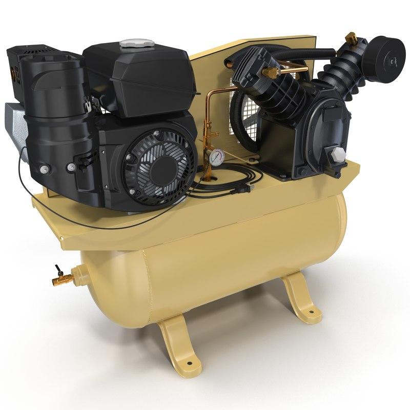 piston air compressor modeled 3d max
