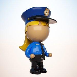 police officer cartoon 3d max
