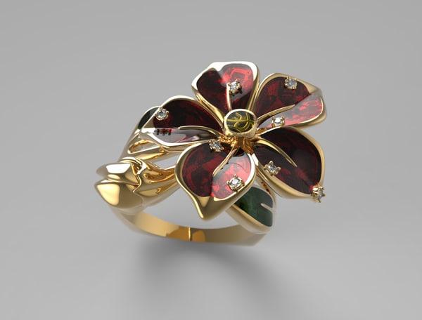 rhino jewelry flower ring