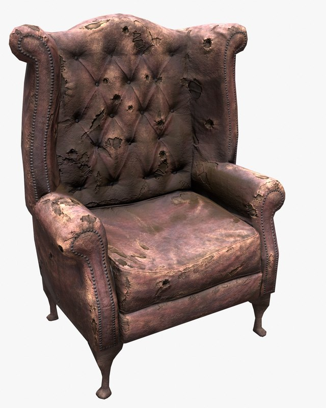 3d ready old leather chair