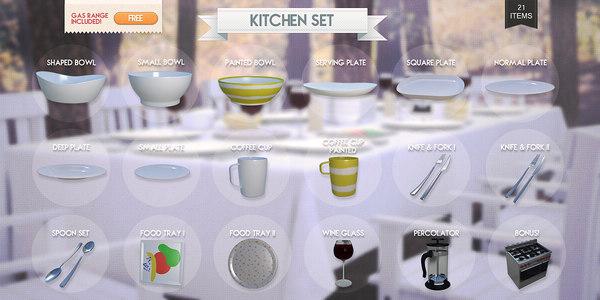 kitchen set 3d 3ds