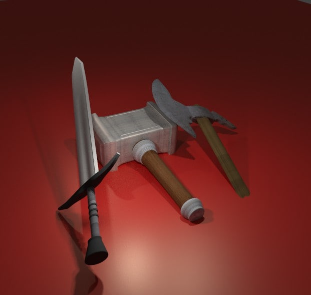 knight weapons fbx