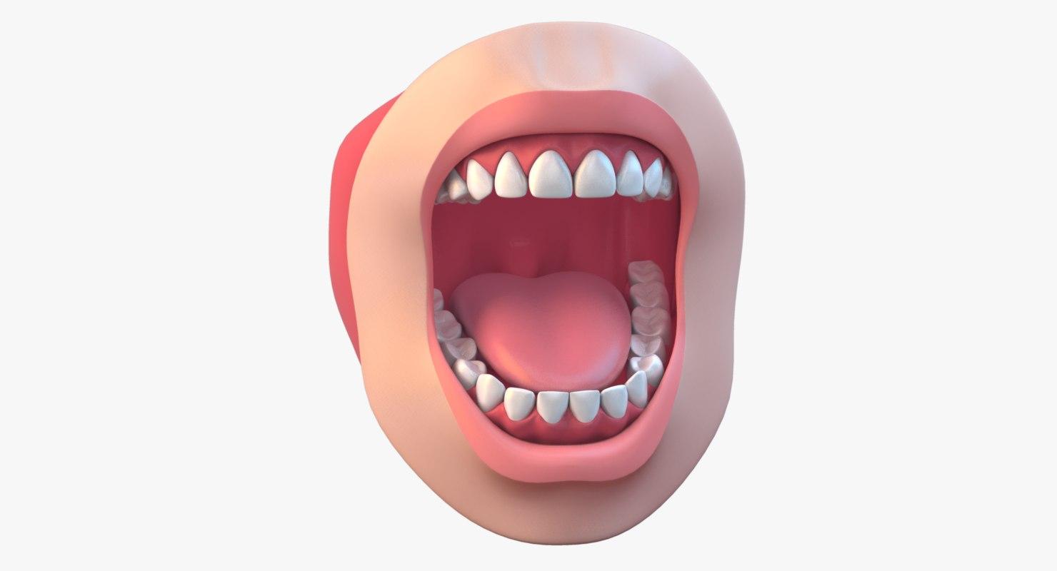 mouth realistic 3d obj