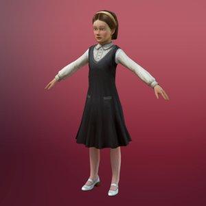 little girl 3d obj