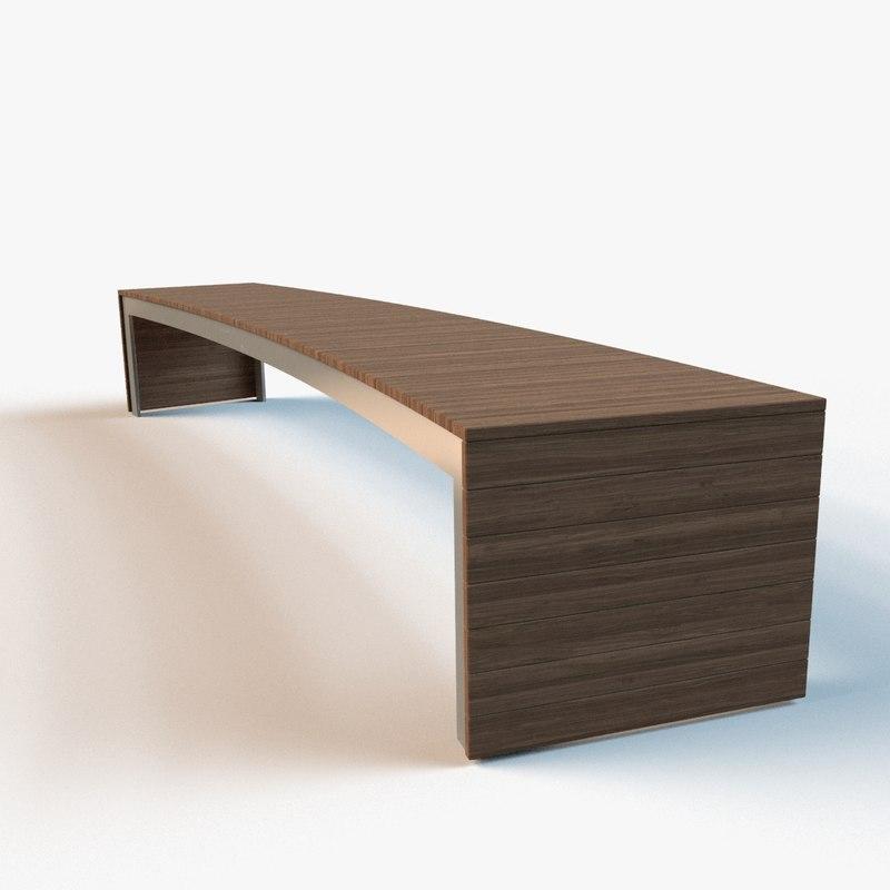 3d model exterior bench