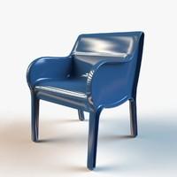 3d model designer plastic molded chair
