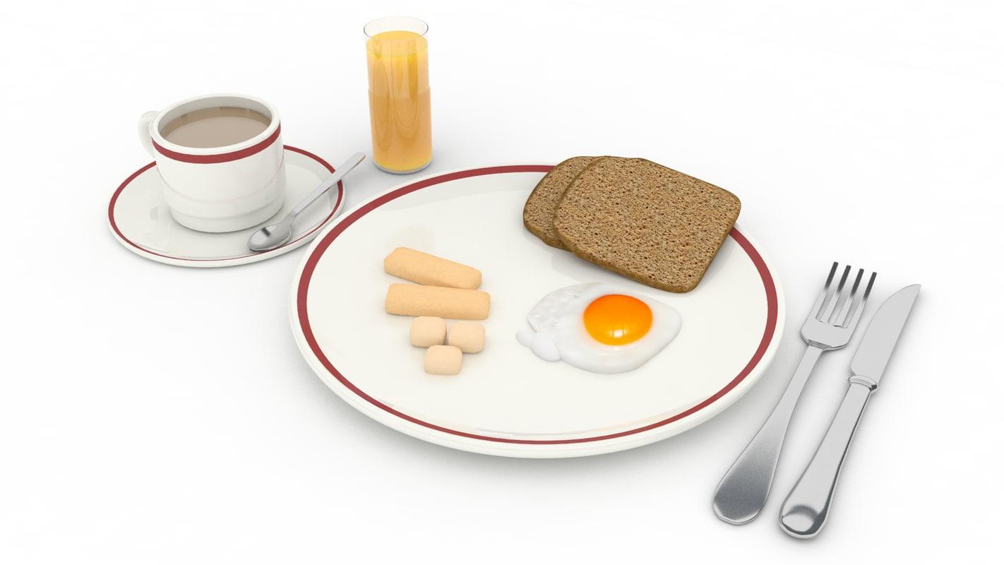 breakfast set 3d 3ds