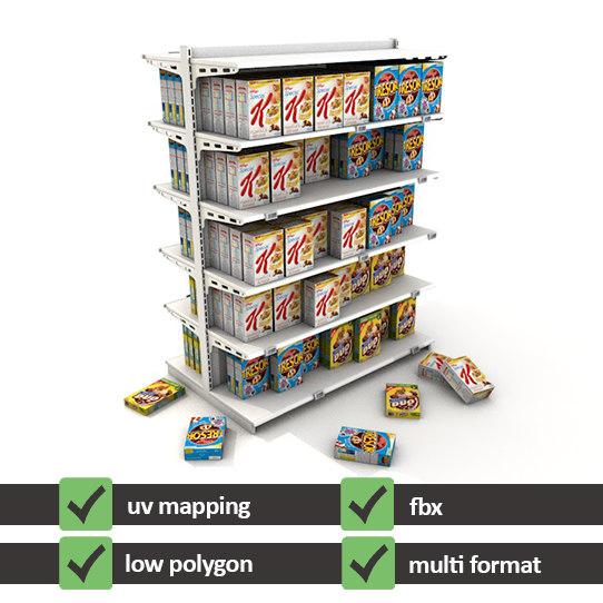 3d 3ds supermarket shelves cereal