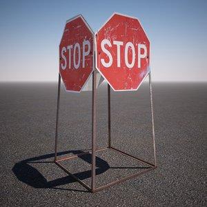 3d construction stop sign