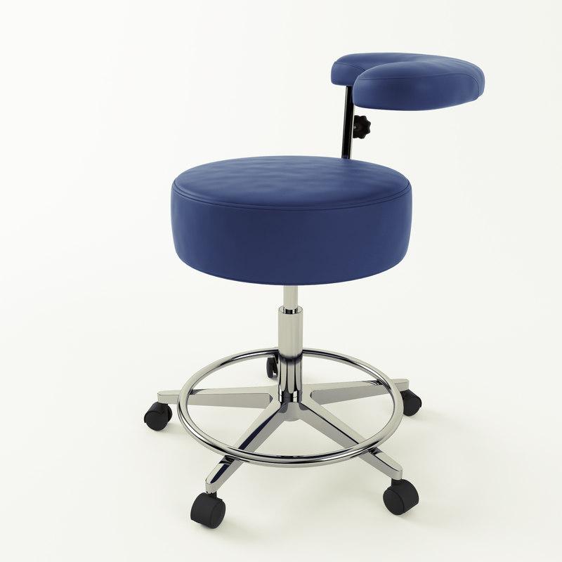 3d salon furniture assistan stool model