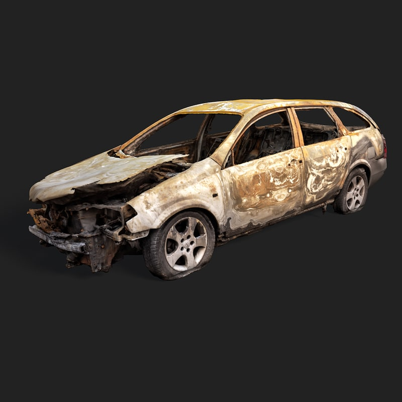 c4d burned car wreck