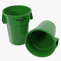 Plastic Garbage Can Green 3D Model