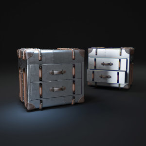 3d richards -trunk-2-drawer-cube-metal