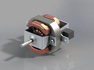 3d electric motor hair dryer model
