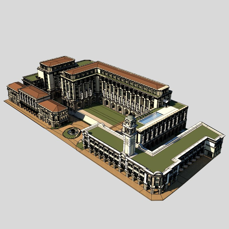 free british colonial complex 3d model