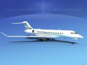 global express bombardier 8000 3d model