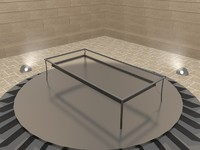 c4d simple glass terrace table