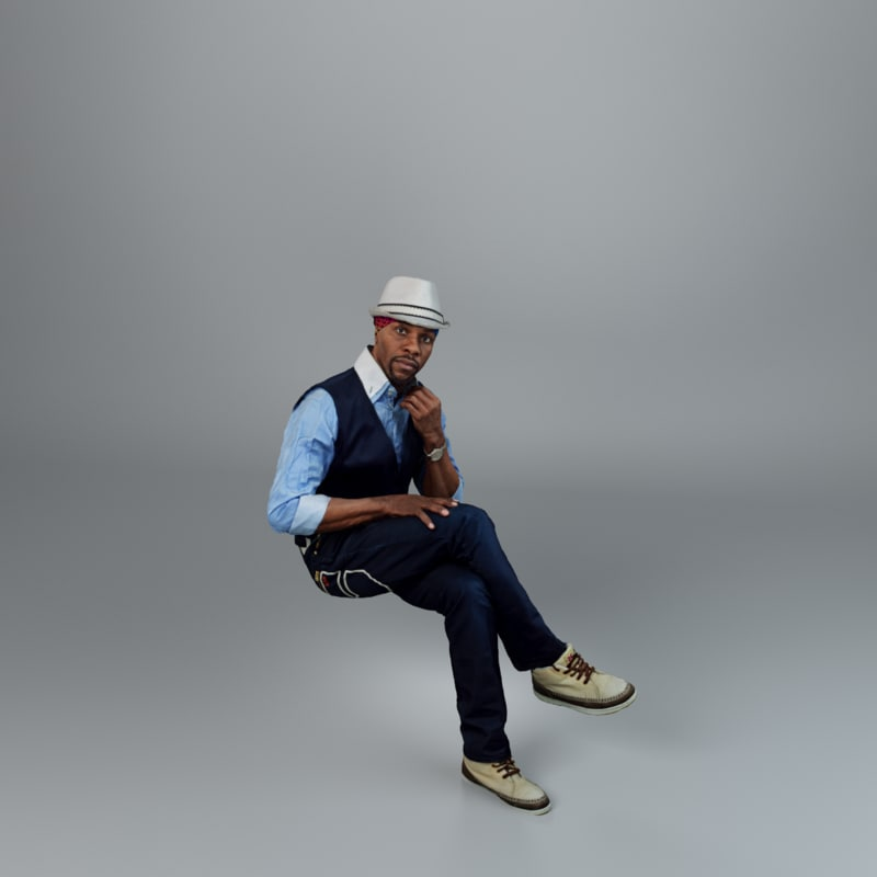 3ds max man casual sitting