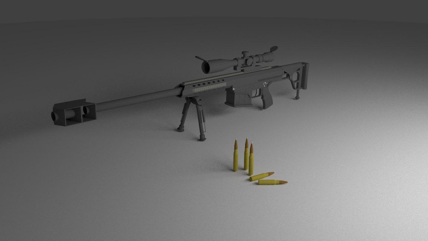 3d m98 barrett sniper rifle model