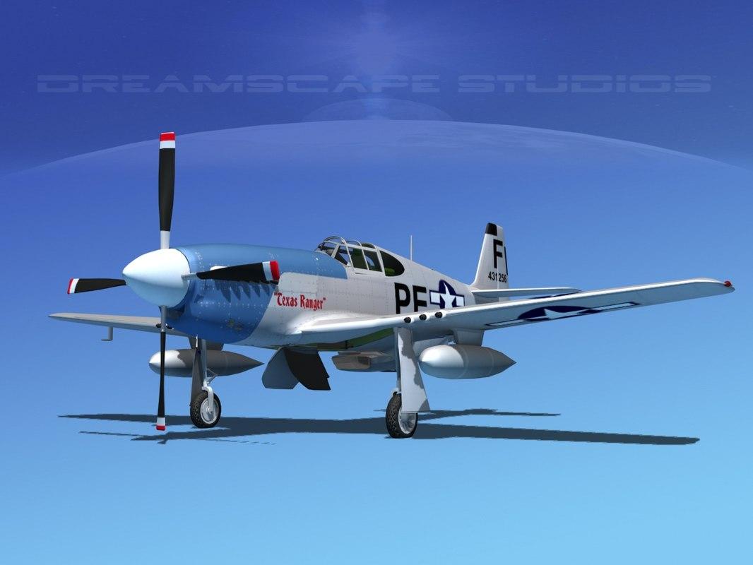 3d p-51b mustang p-51 north american