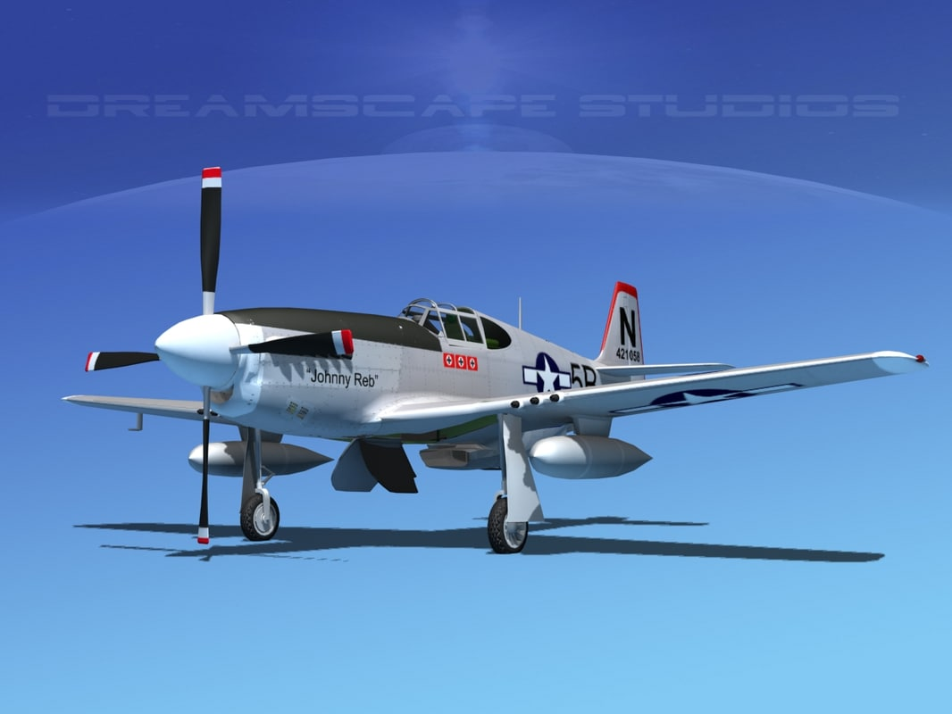 p-51b mustang p-51 north american 3d 3ds