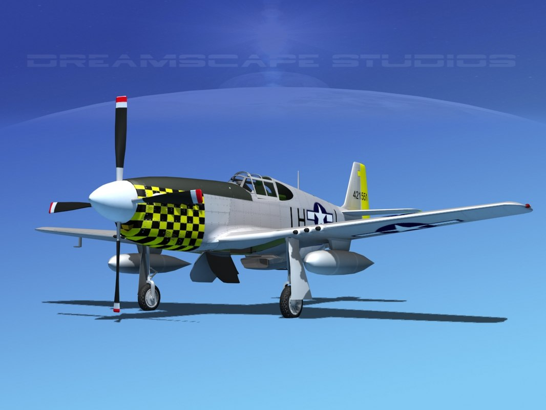 3d model of p-51b mustang p-51 north american