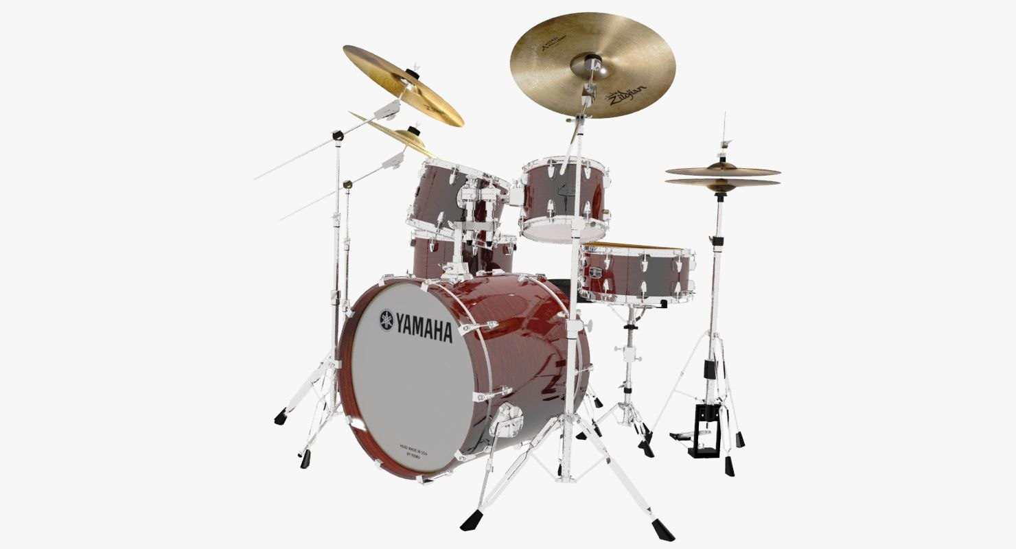 3d yamaha live custom drum set model