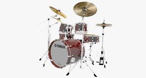 3d yamaha live custom drum set model