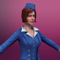 stewardess 3d model
