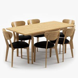 hygena merrick oak table 3d max