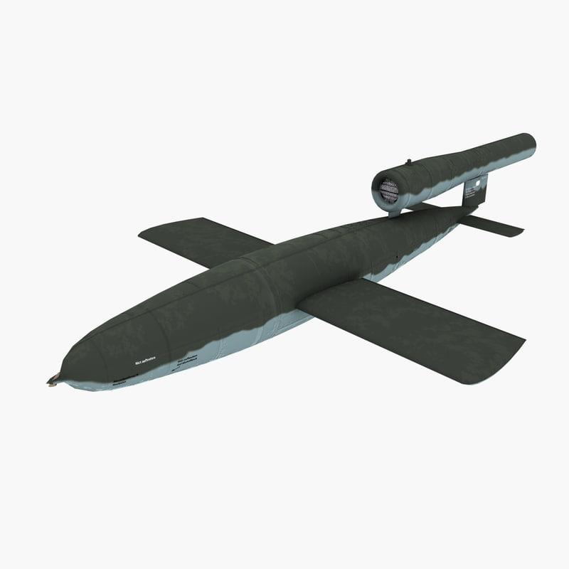 3d model v-1 doodlebug germany