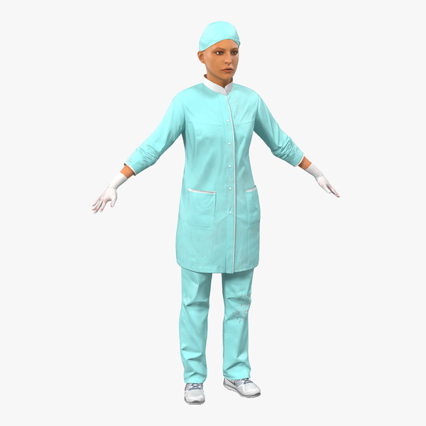 female surgeon mediterranean blood 3d model