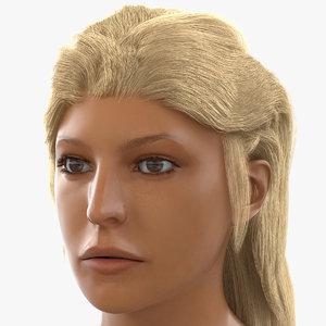 female mediterranean head modeled 3d model