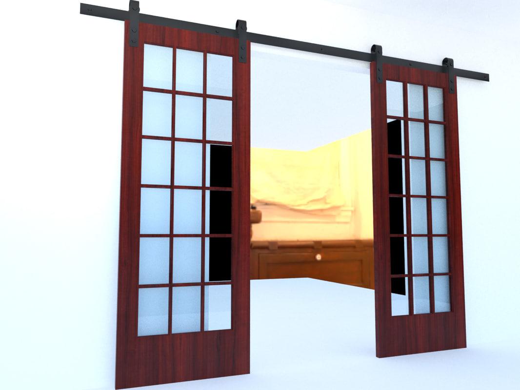 sliding barn doors 3d model