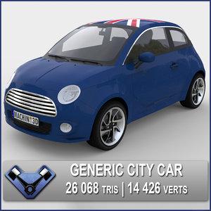 3d generic city car atom model