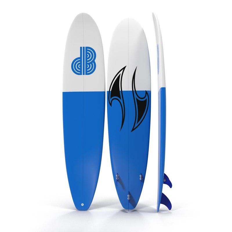 surfboard longboard modeled 3d max