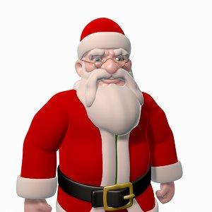santa claus cartoon rigged character 3d max