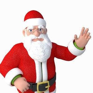 3d model santa claus cartoon rigged character