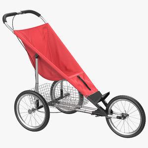 jogging stroller red 3d model