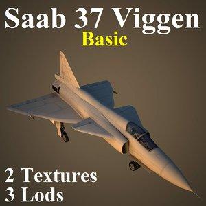 saab 37 basic 3d max