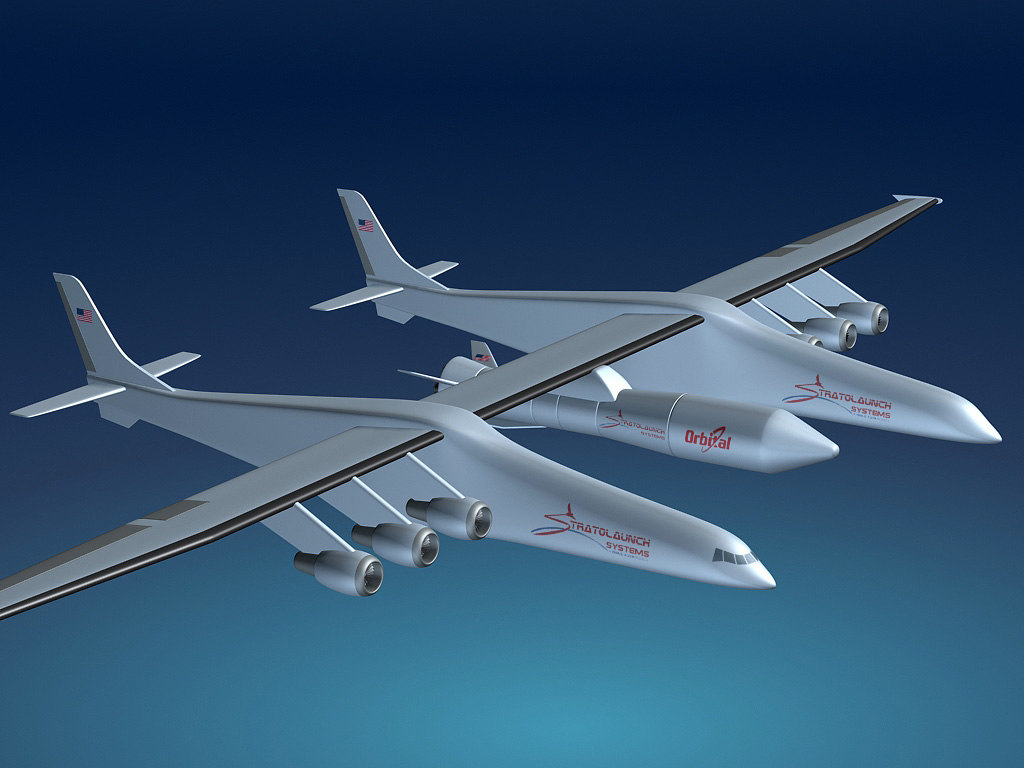stratolaunch carrier aircraft 3d model
