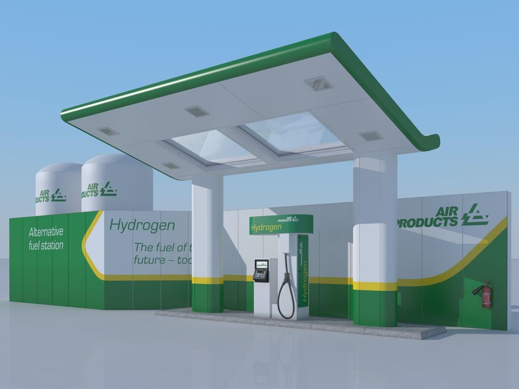 hydrogen gas station 3d 3ds