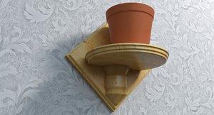 wooden flower pot holder 3d 3ds