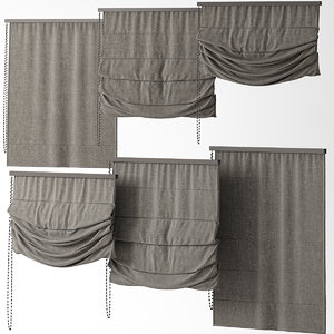 3d blinds curtains model