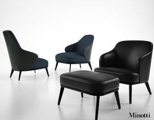 minotti leslie armchair 3d max