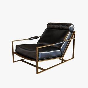 3d chair bronze frame model
