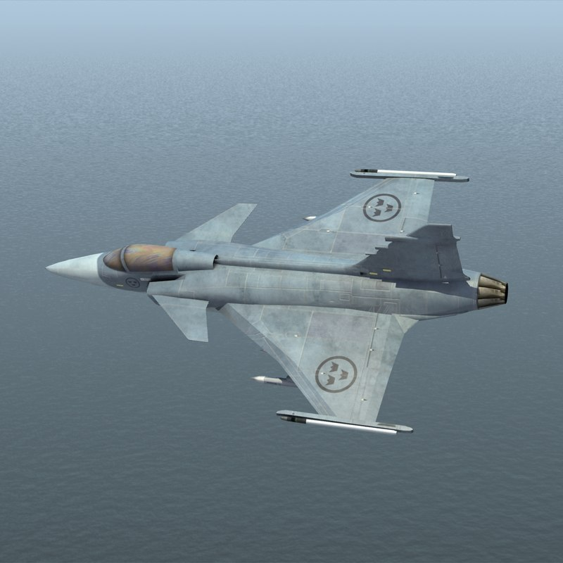 3d model jas39 gripen fighter jet